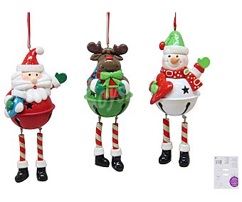 Actuel Colgante con la forma de simpáticos muñecos navideños (papa Noel, Reno...), con cuerpo de cascabel y piernas largas actuel. Este producto dispone de distintos modelos o colores. Se venden por separado SE surtirán según existencias