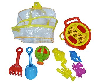 Euraspa Mochila con juguetes de playa, cubo, pala, rastrillo y accesorios, EURASPA.