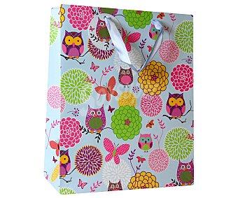 Auchan Bolsa para regalos con estampado de buhos, 23x32x12 centímetros 1 unidad