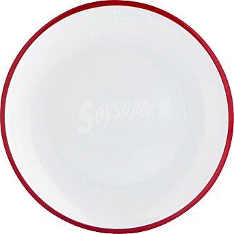 LUMINARC Colortronic Plato de postre de porcelana en color blanco con filo rojo 20,5 cm