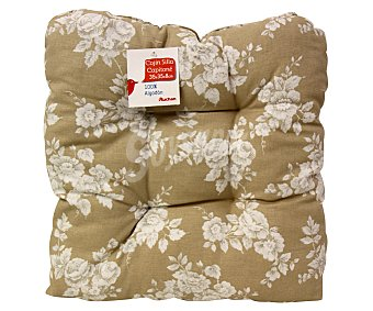 Auchan Cojín capitoné estampado para silla, modelo Panama, color beige 35x35x8 centímetros 1 Unidad