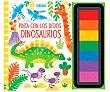 Pinta con los dedos Dinosaurios, fiona watt. Género: infantil, colorear. Editorial Usborne.  Usborne