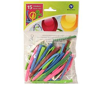 NV CORPORACION Bolsa de 15 globos modeables de colores vivos Paquete de 15 Unidades