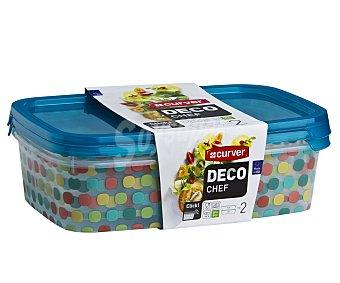 Curver Set de 2 herméticos rectangulares de plástico con diseño Lunares y tapa hermética, 1 litro de capacidad, serie Lunares Deco Chef Pack de 2 unidades