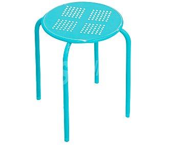 Productos Económicos Alcampo Taburete de metal apilable color azul, 30x30x44 centímetros 1 unidad