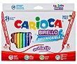Pack de 24 rotuladores birello, con doble punta, 4.7 y 2.6 mm, surtidos en colores, tinta lavable, CARIOCA. Pack de 24 Carioca