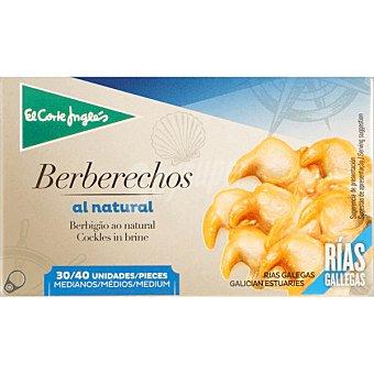 EL CORTE INGLES Berberechos al natural de las rías gallegas 30-40 piezas  lata 63 g neto escurrido