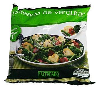 Hacendado Salteado verduras ( judia verde, cebolla, pimiento rojo, champiñon Y brocoli )congelado Paquete 600 g