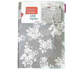 AUCHAN Mantel estampado color gris claro, 100% algodón, 150x200 centímetros 1 Unidad