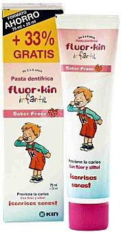 FLUOR-KIN Pasta dentífrica, sabor fresa, previene la caries con flúor y xilitol 75+25 Mililitros