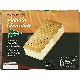 El Corte Inglés Sándwich con helado de vainilla y chocolate estuche 600 ml 6 unidades