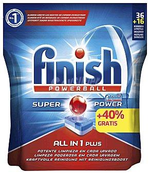 Finish Detergente lavavajillas todo en 1 acción efervescente Calgonit  Bolsa 52 pastillas