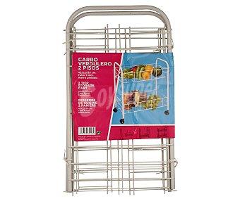 TABERSEO Carro verdulero de 2 pisos fabricado en hierro pintado color blano, 42x22x35 centímetros 1 unidad