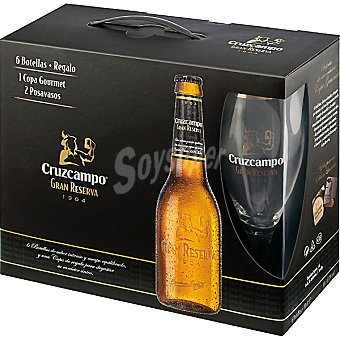 Cruzcampo Gran Reserva Cerveza rubia nacional pack 6 botellas 33 cl con regalo de una copa Pack 6 botellas 33 cl