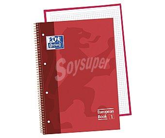 Oxford Cuaderno DIN A4 con cuadricula de 5x5 milímetros, margen izquierdo, 80 hojas de 90 gramos, tapas extraduras de color rojo y microperforado con encuadernación con espiral metálica 1 unidad