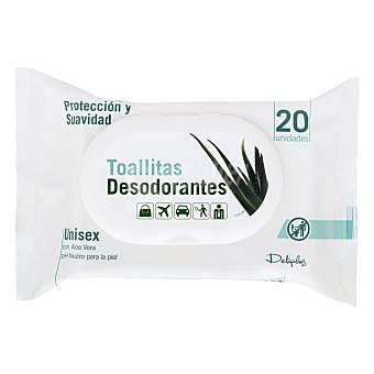 Deliplus Toallitas desodorantes con aloe Paquete 20 u