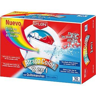 Dylon Toallitas Atrapa Color 2 en 1 con quitamanchas ultra activo Caja 10 unidades