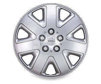 """GOODYEAR Juego de 4 tapacubos modelo Flexo para ruedas de 15"""", de color plata y diseño robusto y plano con aspecto de llanta de aleación 1 unidad"""