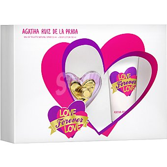 Ágatha Ruiz de la Prada Love Forever eau de toilette natural femenina + body loción tubo 100 ml Spray 50 ml