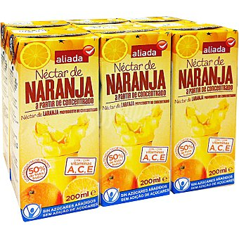 Aliada Néctar de naranja sin azúcar elaborado a partir de concentrado Pack 6 envases 200 ml