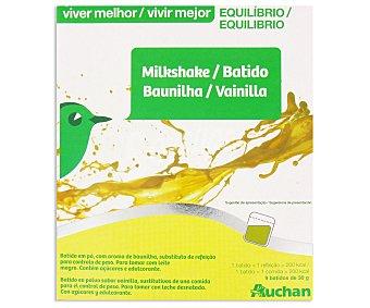 Auchan Batido de vainilla Vivir Mejor, caja de 9 sobres de 30 gramos 9u