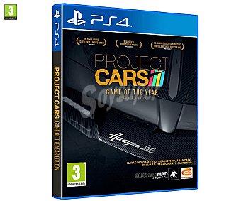 Carreras Videojuego Project Cars, edición Juego del año para Playstation 4. Género: simulación, carreras, conducción, velocidad. Recomendación por edad pegi: +3