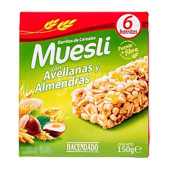 Hacendado Barrita cereales muesli avellana y almendras Caja 150 g (6 uds)