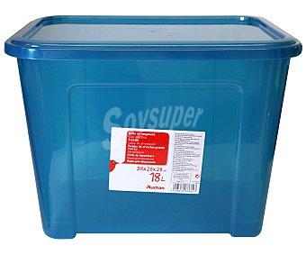 AUCHAN Caja de ordenación con tapa, capacidad de 18 litros, fabricada en plástico azul, 37,7x27,7x27,8 centímetros 1 Unidad