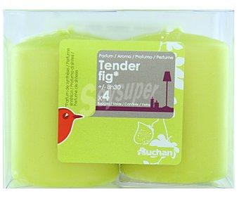 AUCHAN Velas cilíndricas perfumadas de 55x40 milímetros y con olor a higos dulces Pack de 4 Unidades