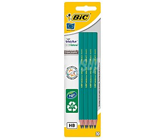 Bic Lote de 10 lápices de grafito, con cuerpo de color verde, punta ultra-solida y dureza HB, evolution 1 unidad