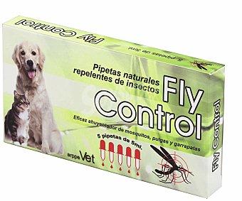 FLY CONTROL Pipetas insectifugas para perros con más de 3 meses 5 Unidades de 5 Mililitros