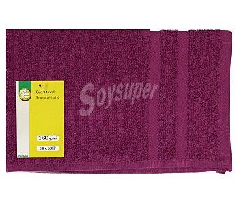 Productos Económicos Alcampo Toalla 100% algodón color morado para tocador, densidad de 360 gramos/m², 30x50 centímetros 1 unidad