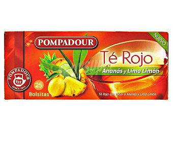 Pompadour Té rojo con ananas (piña) y lima limón 25 bolsitas de 1,75 gramos