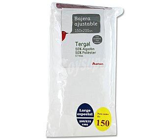 Auchan Sábana bajera ajustable, color blanco, 150 centímetros 1 Unidad