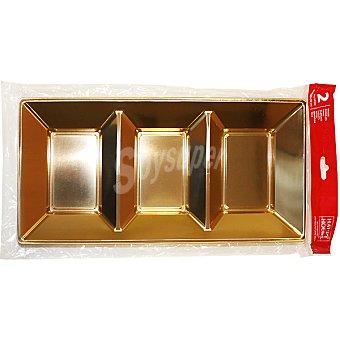 P & H Bandeja rectangular Oro con 3 compartimentos 38x28 cm Paquete 2 unidades