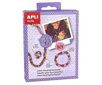 APLI Kit para crear un anillo, un brazalete, y un collar de cuentas en tonos lilas APLI