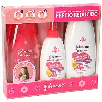 Johnson's Baby pack gotas de brillo champú + acondicionador + spray peinado