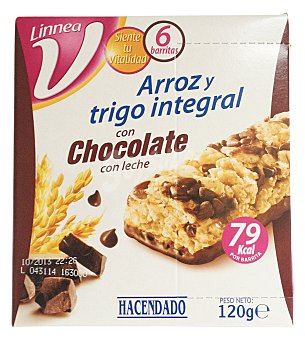 Hacendado Barrita cereales arroz y trigo integral chocolate leche linea v Caja 6 ud (120 g)
