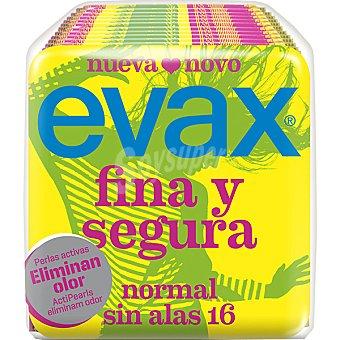 Evax Compresa fina y segura normal sin alas Bolsa 16 unidades