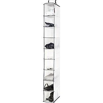 Compactor Estantería de tela con 9 baldas en color blanco y marino