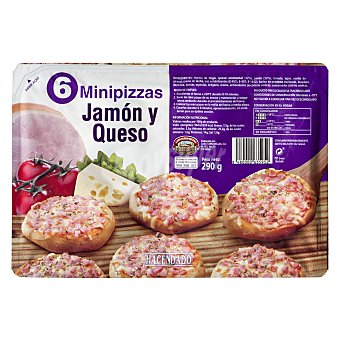 Hacendado Pizza congelada jamon york queso mini Paquete de 6 unidades