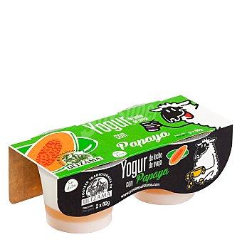 Ultzama Yogur con papaya de leche de oveja Ultzama sin gluten Pack de 2 unidades de 80 g