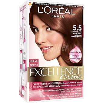 Excellence L'Oréal Paris Tinte Castaño Claro Rojo Caoba 5.5 crema color triple cuidado caja 1 unidad con Pro-keratina + Ceramida + Colágeno Caja 1 unidad