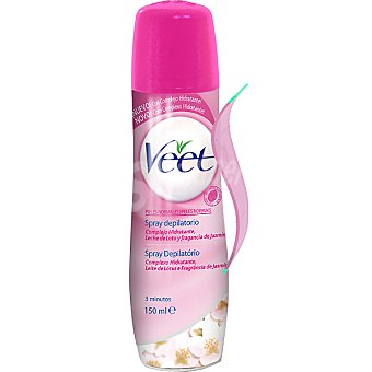 Veet Crema depilatoria hidratante leche de loto y fragancia jazmin para piel normal spray 150 ml Spray 150 ml