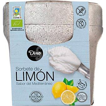 Dino Sorbete de limón sabor del mediterráneo ecológico, sin gluten y sin lactosa tarrina 450 ml