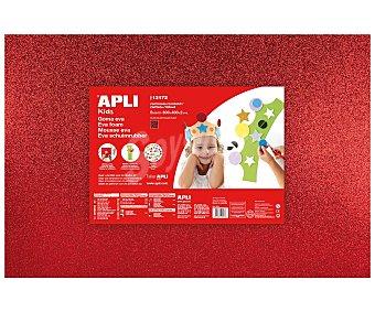APLI Plancha de foam, goma eva de color rojo con purpurina y dimensiones 400x600x2 milímetros 1 unidad