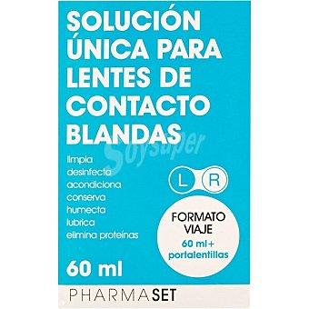 Pharmaset Solución única para lentes de contacto blandas frasco 60 ml formato viaje + portalentillas frasco 60 ml
