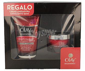 Olay Crema antiedad (50 ml) más crema limpiadora exfoliante (150 ml) 1 unidad