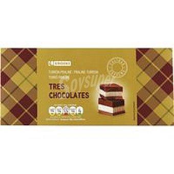 Eroski Turrón de praliné 3 chocolates Caja 300 g