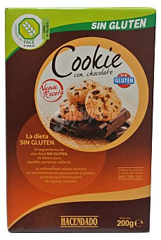 Hacendado Galleta trozos chocolate cookie sin gluten Paquete 200 g